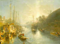 Sunrise on the Grand Canal of China - painting by William Havell 1816-7
