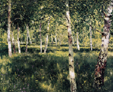 Birch forest - detail - painting by Isaac Levitan
