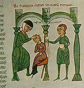 Surgical examination of a fractured cranium - Rolandus Parmensis - Chirurgia -c. 1300