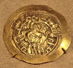 Coin from reign of Michael VIII Palaiologos depicting the Virgin Mary at the walls of Constantinople - Copy