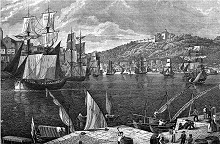 Ships in Oporto harbour c 1835 - engraving by JG Martini - via Wikimedia