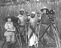 Osa and Martin Johnson with expedition members in Africa circa 1921