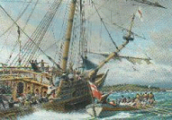 The wrecked Sea Venture off the Bermudas