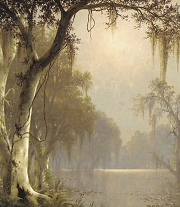 Sunlight On The Bayou - oil painting by Joseph Rusling Meeker via WikiGallery