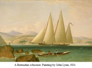 A Bermudan schooner - painting by John Lynn - 1834