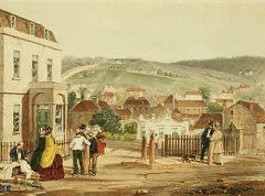Hobart-Town circa 1856 - painting by H Butler Stoney