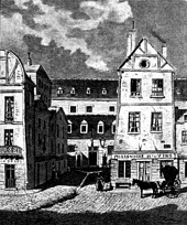 La Force prison in Paris at Rue Saint-Antoine circa 1821, from La Vie Parisienne à Travers le XIXe Siècle by Charles Simond.