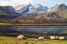 Blaven seen from Loch Slapin - postcard by J Arthur Dixon of Inverness