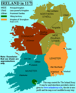 Map of Ireland in 1171 - via www.irelandstory