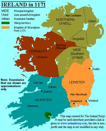 Map of Ireland in 1171 - via www.irelandstory