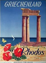 Greece - Rhodes - Lindos - vintage travel ad