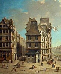 Place de Grève - Paris - detail of 18th c painting by Raguenet