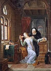 Héloïse embraces the monastic life - 19th c painting by Jean Antoine Laurent - Musée national des châteaux de Malmaison et de Bois-Préau