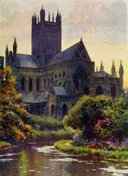 Wells Cathedral seen from the springs that give the place its name - painting by E W Haslehust