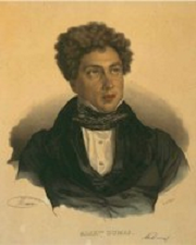 Alexandre Dumas in 1842 - lithograph by Delpech based on portrait by Maurin