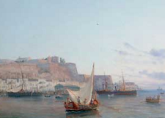 Valletta Harbour - Malta - detail of painting by Luigi Maria Galea