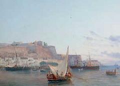 Valletta Harbour - Malta - detail of painting by Luigi Maria Galea