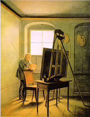 Caspar David Friedrich in his studio - painting by Georg Friedrich Kersting via Wikimedia