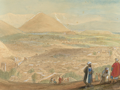 View over Kabul - Afghanistan - watercolour by James Atkinson 1839