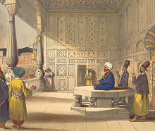 Shah Shuja in the Bala Hissar 1839 - lithograph by Lieutenant James Rattray via Wikimedia