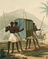 Palanquin carried by slaves c 1818 - Ile de France - Mauritius - from Voyage Autour Du Monde by Freycinet