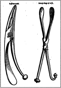 16th c forceps on the right - image in The Obstetricians Armamentarium by Bryan Hibbard