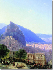 View of Tbilisi - detail - painting by Ivan Aivazovsky 1868 - image by Ghirlandajo via Wikimedia Commons