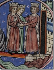 Richard I of England and Joan Queen of Sicily received at Acre by Philip Augustus of France - Historia Anglorum c 1230