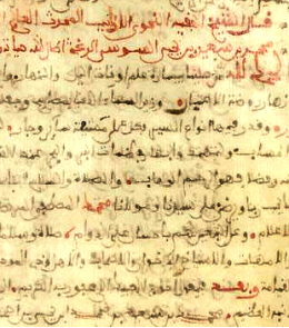 Maghribi Arabic manuscript c 13th century - detail