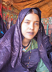 Tuareg woman in indigo garments - image via Association sauver l_Imzad at imzadanzad dot com