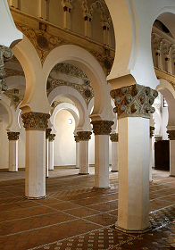 12th c Ibn Shushan Synagogue now Santa María la Blanca - Toledo Spain - photo by kurtxio via Wikimedia