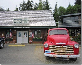 Forks Visitor Information Center with a truck like Bella's - Washington State - USA - photo by RaeVynn Sands via Flickr