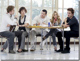 The Cullens in the school cafeteria - movie still from Twilight