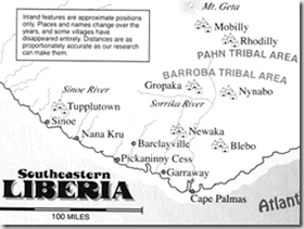 Map of south-eastern Liberia from the book Before We Kill And Eat You