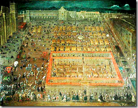 Vista del Zócalo de México - view of Central Square of Mexico City - painting from 1695 by Cristóbal de Villalpando