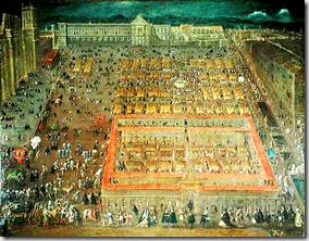 Vista del Zócalo de México - view of Central Square of Mexico City - painting from 1695 by Cristóbal de Villalpando