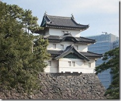 Remnant of Edo Castle against the Tokyo skyline - Japan - image via Wikimedia Commons
