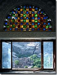 Window in Dhar al-Hajar - rock palace at Wadi Dhar - Yemen - photo by Bernard Gagnon via Wikimedia Commons