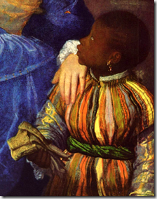 Page boy - Detail of portrait of Laura Dianti with slave by Titian - c 1523 - image via Wikimedia Commons