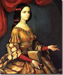 Portrait of the young Juana Ramírez de Asbaje in 1666 before she became Sor Juana Inés de la Cruz - image via Wikimedia Commons