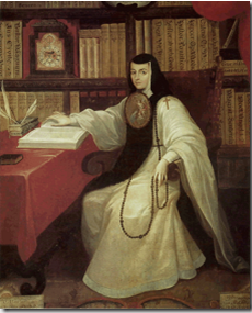 Posthumous portrait of Sor Juana in the habit of the Order of San Jerónimo with the religious escutcheon plate