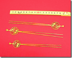 Kanzashi - Japanese gold-plated hairpins - image by Kayopos via Wikimedia Commons