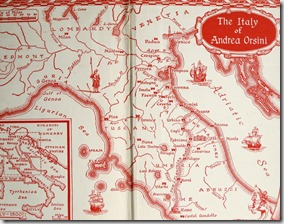 Map of Italy 1500 in 1947 edition of Prince of Foxes - click to enlarge - photo by Danielle @ The Romantic Armchair Traveller