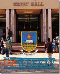 The Great Hall at the University of Zimbabwe - Harare - Zimbabwe - back cover of UZ Weekly 8 June 2012
